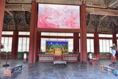 一个大厅的内部在景福宫宫殿在汉城 免版税图库摄影