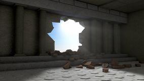 一个大厅的破坏有专栏的 库存图片