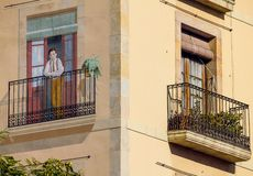 一个大厦的角落在巴塞罗那 库存照片