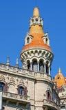 一个大厦的详细资料在巴塞罗那 库存图片