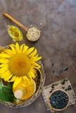 一个大向日葵,一个瓶油,在桌上的种子 顶视图 免版税库存照片