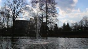 一个大喷泉在一个小湖或池塘 股票录像
