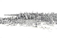 一个大城市的建筑3D模型例证白色背景的