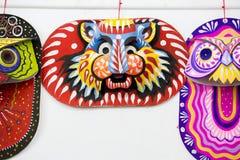 一个大大小五颜六色的老虎面具 库存照片