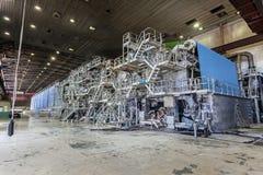 一个大张纸机器在生产区域 库存照片