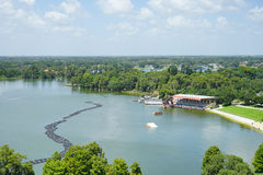 一个大湖的鸟瞰图在湖水地区,佛罗里达 免版税库存图片