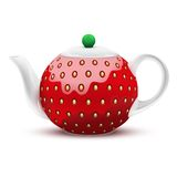 以一个大草莓的形式茶壶 向量 免版税库存图片