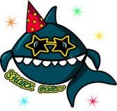 一个大蓝鲨鱼在太阳镜的一个生日 海字符和五彩纸屑在白色背景 在海洋的儿童s przdnik 向量例证