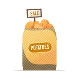 一个大袋土豆 菜销售 街道食品贸易 Vecto 库存图片