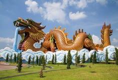 一个大龙雕象 库存图片