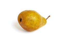 一个大黄褐色梨在白色背景隔绝的它的边说谎 库存照片