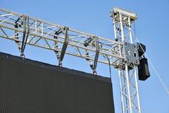 一个大LED屏幕的栏杆的支 库存图片
