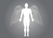 一个天使人的图 在灰色背景的传染媒介例证 免版税图库摄影