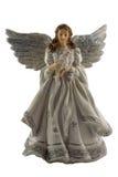 一个天使的小雕象在白色背景的 免版税图库摄影