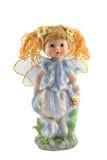 一个天使的小雕象在白色背景的 图库摄影