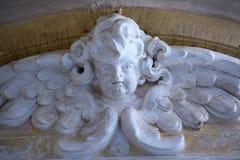 一个天使的浅浮雕在波佐利老大教堂里 免版税库存照片