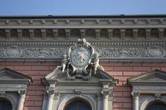 一个天使的浅浮雕在窗口的 免版税图库摄影