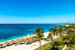 一个天堂海滩的惊人的看法在Playa肘的 库存照片