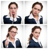 一个女商人的拼贴画用不同的表示的 免版税库存照片