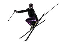 一个女子滑雪者跳台滑雪剪影 库存图片