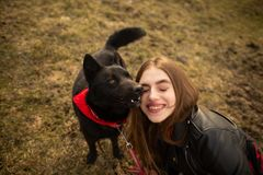 一个女孩和她的狗的一张美妙的画象与五颜六色的眼睛 朋友在湖的岸摆在 图库摄影