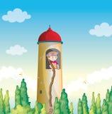 一个女孩在一个灯塔里 免版税库存照片