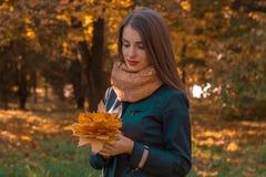 一个女孩在公园站立并且拿着叶子花束  免版税图库摄影