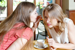 一个女孩在另一个秘密的耳朵耳语 免版税库存图片