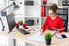 一个女孩在她的手上坐在一张桌上在办公室,拿着一个标志并且工作与笔记薄和一个磁性委员会 免版税库存照片