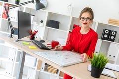 一个女孩在她的手上坐在书桌在办公室,拿着一个黑标志并且工作与一个磁性委员会 免版税图库摄影