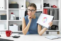 一个女孩坐在一张桌上在办公室并且拿着一支笔和一个文件与图 免版税库存照片
