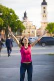 一个女孩感觉喜悦感觉  免版税图库摄影