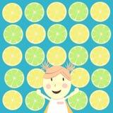 一个女孩有柠檬背景 免版税库存照片