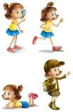 一个女孩的不同的活动 向量例证