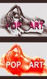 一个女孩的例证仿照流行艺术样式的 免版税库存照片