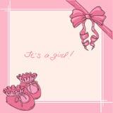 一个女孩的儿童明信片出生时 免版税库存图片