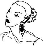 一个女孩的剪影有美丽的耳环的 免版税库存图片
