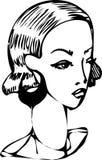 一个女孩的剪影有美好的earringsf的 免版税库存照片
