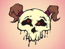 一个女孩的动画片质朴的头骨有猪尾头发的 库存图片