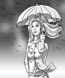 一个女孩的灰度的图象有伞的在风暴 免版税库存照片