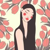 一个女孩的画象有黑发的仿照动画片机智样式 库存照片