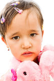 一个女孩的纵向粉红色的 免版税库存图片