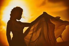 一个女孩的美丽的剪影凸花花边礼服的在日落背景 免版税图库摄影