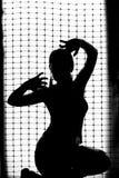 一个女孩的黑剪影白色背景的 库存图片