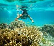 一个女孩的水下的冒险在热带海 免版税库存照片