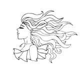 一个女孩的黑白画象有长的头发的 免版税库存图片