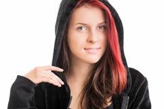 一个女孩的画象一件戴头巾运动衫的 免版税库存照片