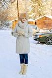 一个女孩的画象在冬日 库存照片