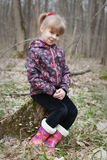 一个女孩的画象在春天森林 免版税库存图片