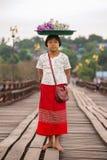 一个女孩的画象在Sangkhlaburi,泰国 免版税库存照片